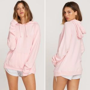 🌟 VOLCOM Lived In Lounge Hoodie in Light Pink / Rose Gold